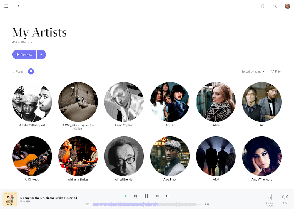 Roon 1.8 artists