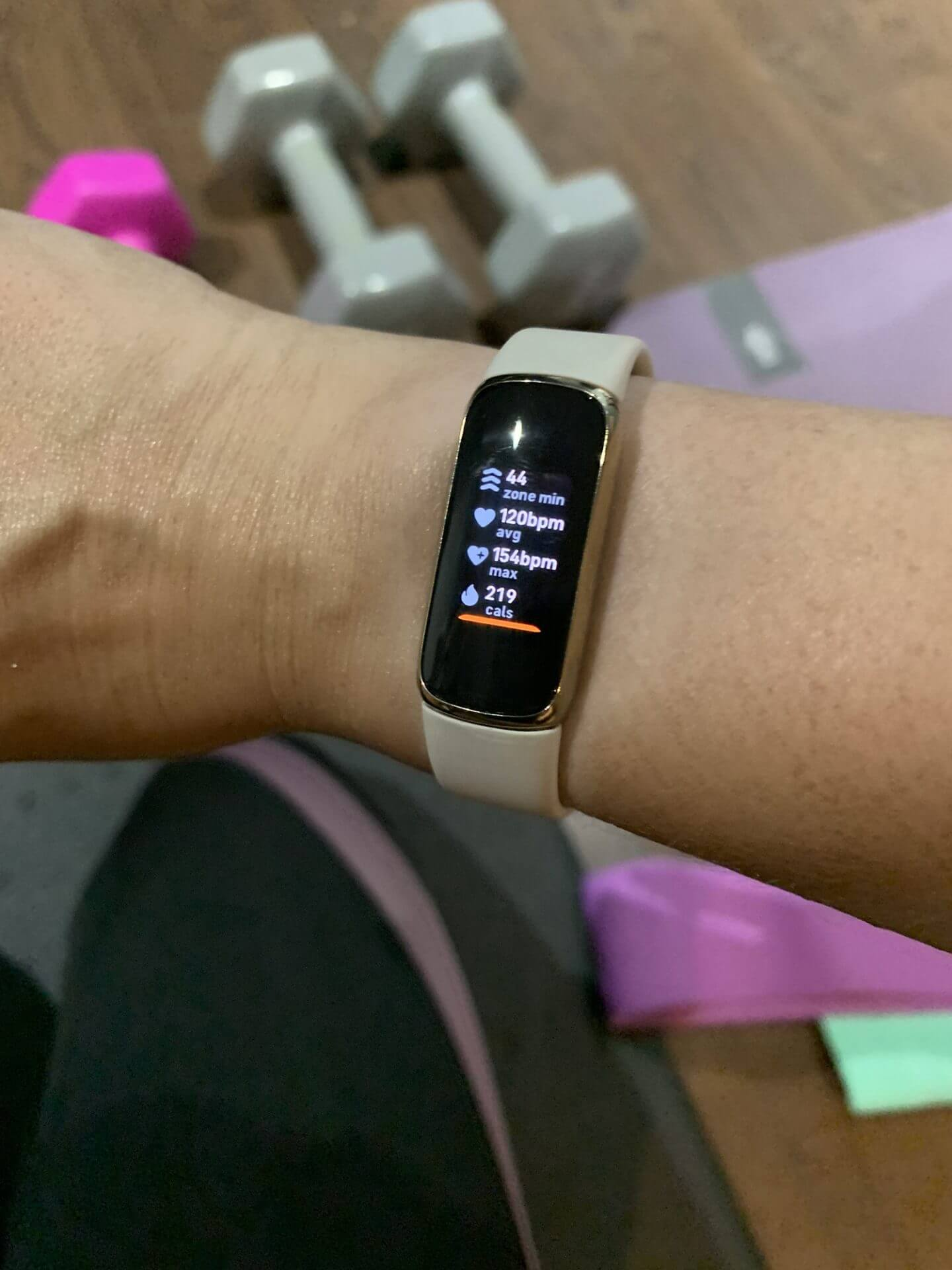 Fitbit Luxe with workout stats