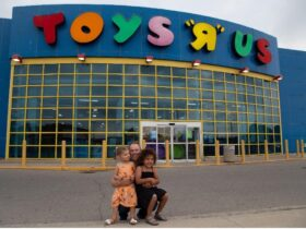 """Doug Putman from Putman Investments outside a Toys """"R"""" Us store."""