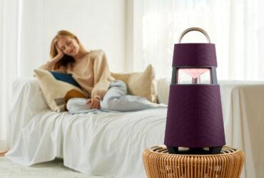 LG XBOOM 360 wireless speaker in the bedroom.