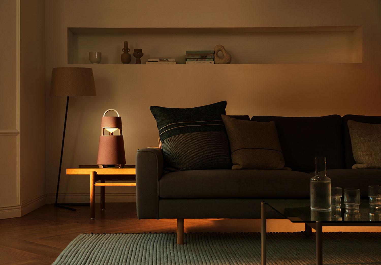 LG XBOOM 360 speaker in living room.